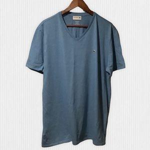 Lacoste Blue Pima Cotton V Neck T Shirt FR7/XXL